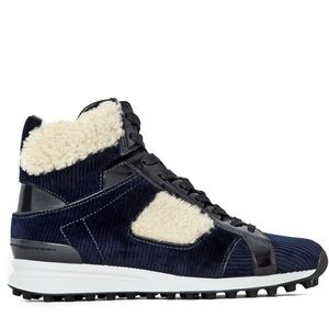 3.1 PHILLIP LIM - Blue Trance Hi-Top Corduroy Boot