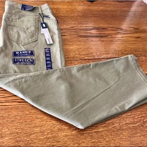 Bandalino jeans plus size 18S. Olive green NWT