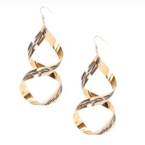 Oversized gold zebra print curl earrings