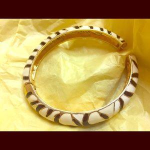 Kenneth Jay Lane Zebra B/W Enamel Bangle Bracelet
