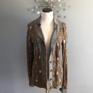 Anthropologie Floral jacket with elbow patches