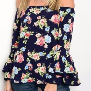 Tops - Navy Blue with Florals Off Shoulder Top