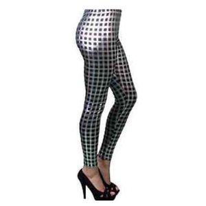 Pants - 🆕 Black & Silver Metallic Check Leggings