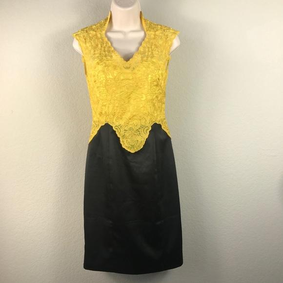 75eb8adb43 Karen Millen Dresses & Skirts - Karen Millen yellow lace black skirt pencil  dress
