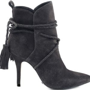 Schutz Fadhila Leather Booties - Mystic Grey 5.5