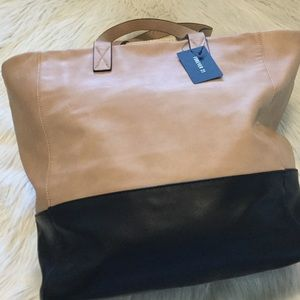 Faux Leather Tan and Black Large Tote