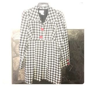 Houndstooth Jacket with Red Buttons