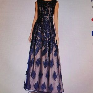 Designer Aidan Mattox Feather Embroidered Gown