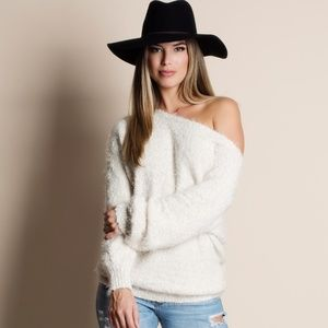 Super Soft Fuzzy Off Shoulder Sweater