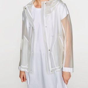 Transparent Hooded Rain Jacket Parka