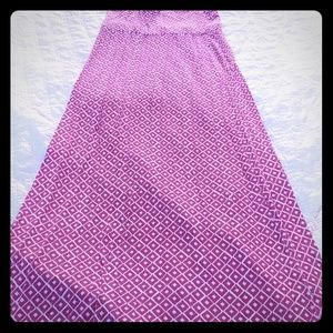 Maxi skirt, pink and white