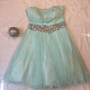 Aqua strapless homecoming dress