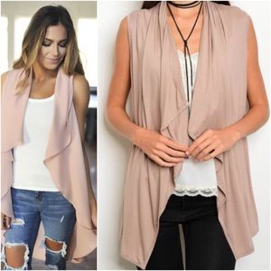 Taupe Draped Open Vest