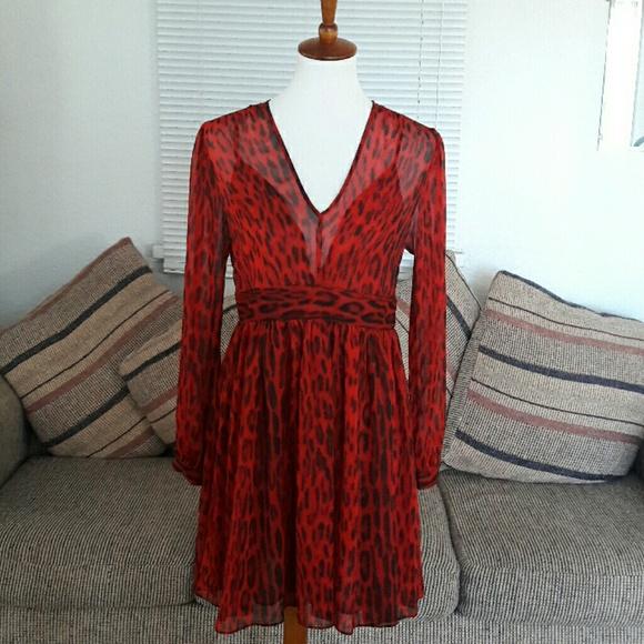 51538b91e2dc  MICHAEL KORS  Red and Black Flowy Dress