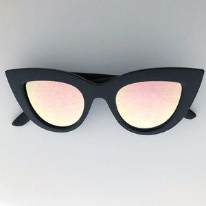 Accessories - Cat Eye Black Sunglasses - Pink Lens