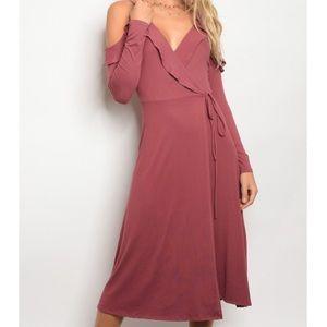 Rose Ruffle Wrap Long Sleeve Dress