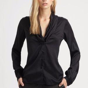 Rachel Zoe Shawl Collar Silk Solid Black Blouse