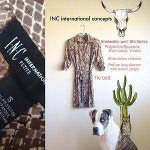 INC International Concept || SnakePrint Shirtdress