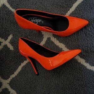 Fergie neon orange pumps
