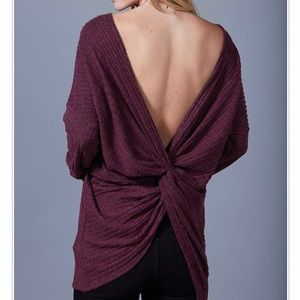 Tops - LAST ONE// Burgundy Back Twist Long Sleeve