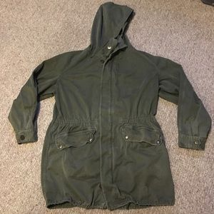 French Vintage Army Hooded Jacket Oversized