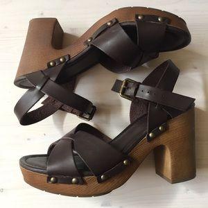 MIA platform block heels brown