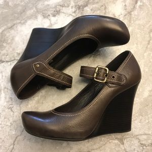 Via Spiga Genuine Leather Wedge Mary Jane Brown