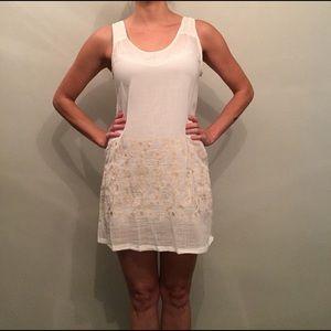 Monoreno Embroidered Cream Mini Dress