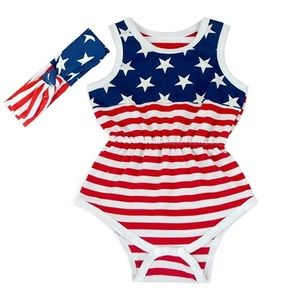 Other - Brand New Cute Rompers Headband American flag 2-3T