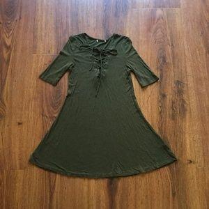 Dresses & Skirts - Olive Green Lace Up Dress