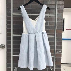 Sandro Blue Rosan Denim Effect Skater Dress