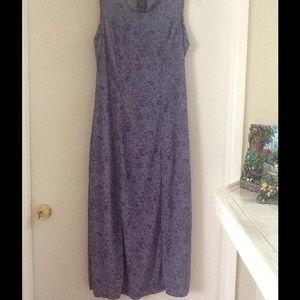 purple/gray floral long dress