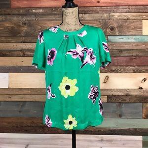 J Crew Green Floral Silk Blouse 6