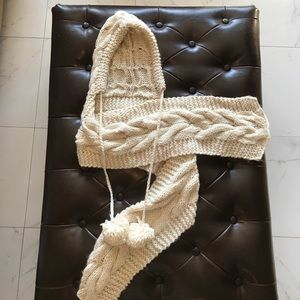 Chunky white cable knit scarf with hood