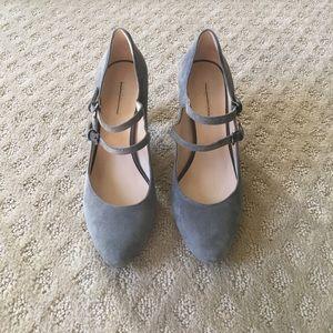 Grey Mary Jane heels