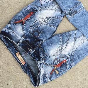 Denim - 🤩 Unique 😍 RARE BoHo punk skinny jeans 28