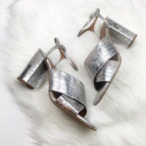 New Zara Silver Metallic Crossover Sandals