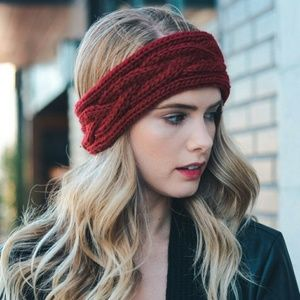 Accessories - Red Cable Knit Headband