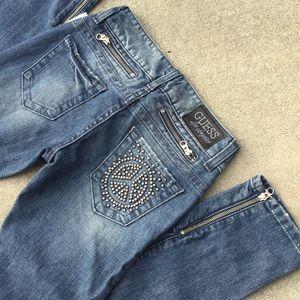 Guess peace studs pocket zipper skinny jeans sz 24