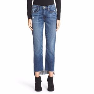 Frame Denim 'Le High Straight' staggered hem jeans