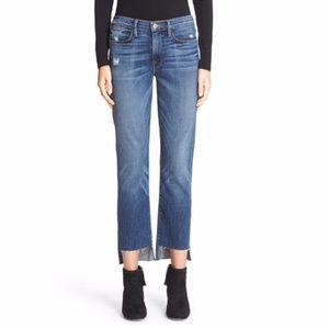 Frame Denim 'Le High Straight' staggered hem jeans