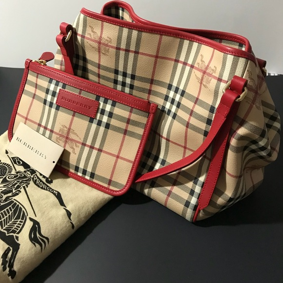 0af88f0e712 Burberry Handbags - Burberry Red large Haymarket check Canterbury tote
