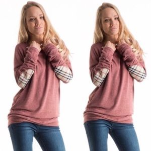 Tops - Last one! Plaid Elbow Patch Brushed Knit Top
