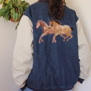 Vintage Denim Bomber Jacket