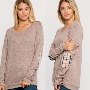 Tops - Rose Plaid Elbow Patch Brushed Knit Top