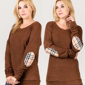 Tops - Brown Plaid Elbow Patch Brushed Knit Top