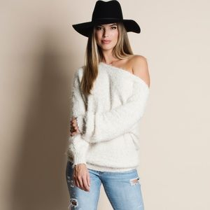Soft Fuzzy Off Shoulder Sweater