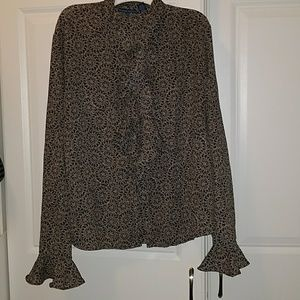Karen Scott ruffle front and sleeve blouse