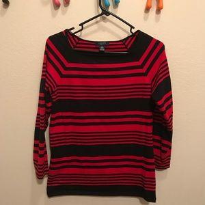 Striped square neck shirt