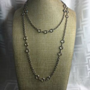 """Jewelry - 48"""" of Round Crystal Links and Silvertone Chain"""